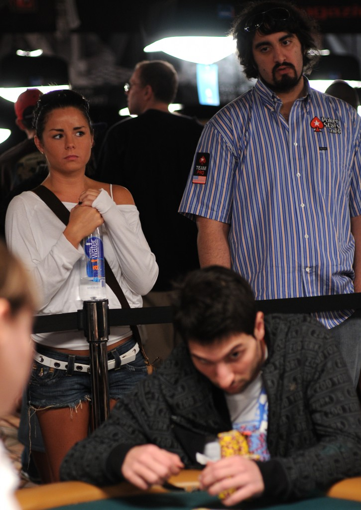 Bahador Ahmadi, seen in foreground on Day 2 of Event #47, captured his first WSOP bracelet last night.