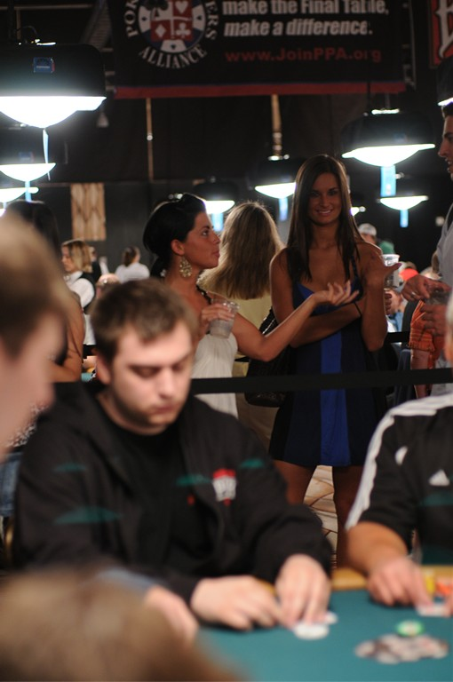 This 2009 WSOP Girl on the Rail had such perfect breasts, even her friend was trying to cup them.