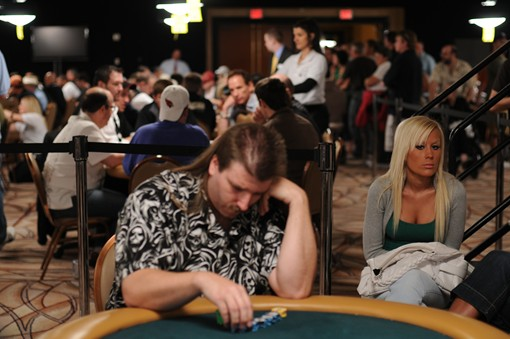 It was all business in the front, party in the back at the 2009 WSOP yesterday.