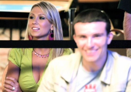Anthony Roux of Team Winamax, seen here at the 2008 WSOP with a hotter Girl on the Rail than is being found in London, finished fifth in WSOPE Event #1.