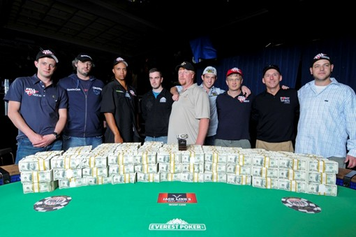 The two guys next to the two guys in the middle should be the ones playing for the 2009 WSOP Main Event title.