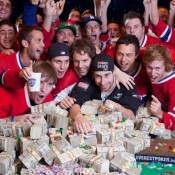 Jonathan Duhamel celebrates winning the 2010 WSOP Main Event