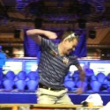 Hard to tell from this photo but Matthew Jarvis was excited about winning his first bracelet.